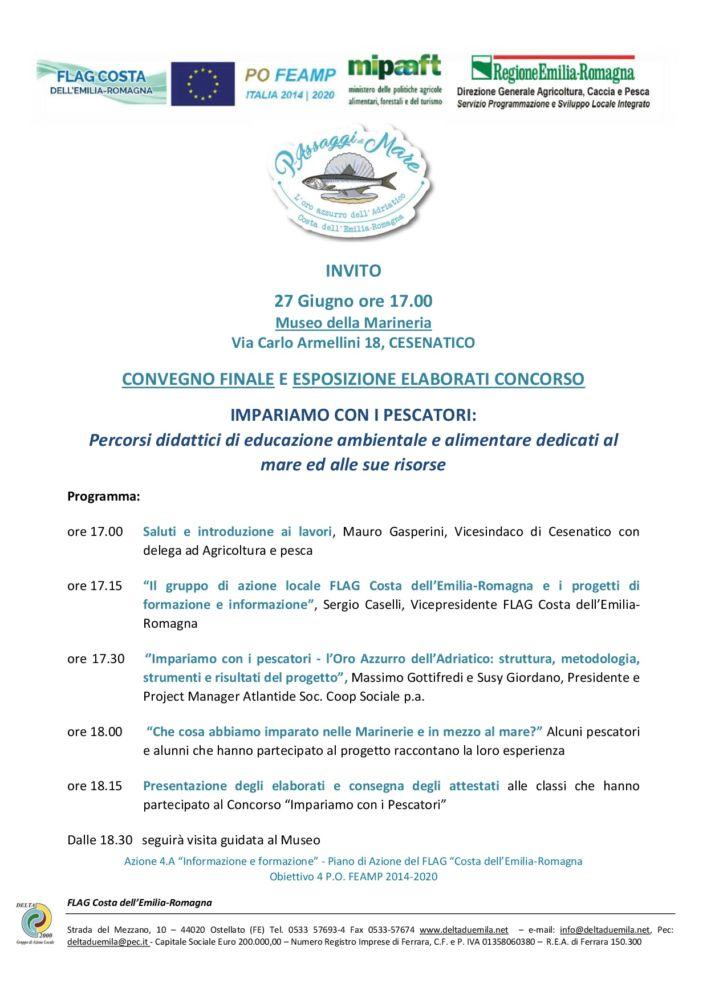 """Convegno finale """"L'Oro azzurro dell'Adriatico"""" 27 giugno a Cesenatico"""