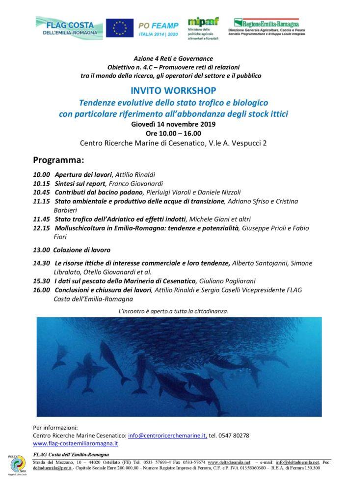 Gruppi di lavoro partecipativi: Tendenze evolutive dello stato trofico e biologico - CESENATICO 14 novembre 2019