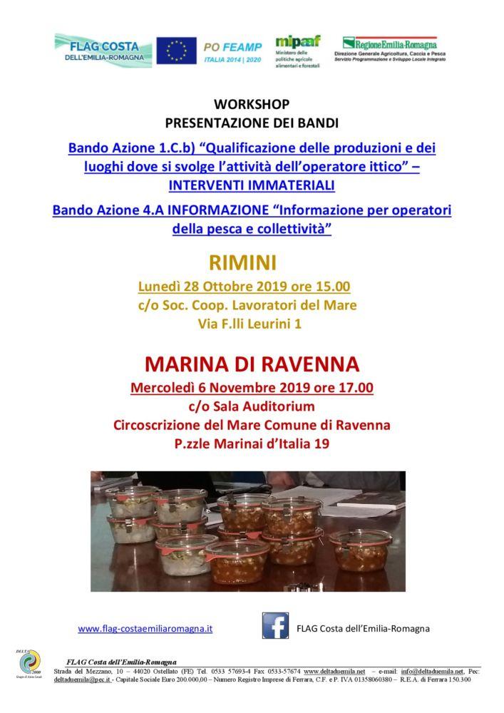 Due Workshop di presentazione dei nuovi bandi FLAG a Rimini e Marina di Ravenna