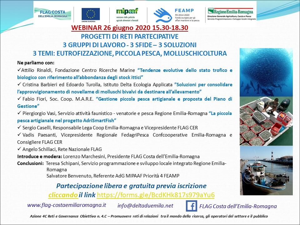 """WEBINAR 26 giugno 2020 ore 15.30 """"PROGETTI DI RETI PARTECIPATIVE, 3 GRUPPI DI LAVORO - 3 SFIDE – 3 SOLUZIONI - 3 TEMI"""""""