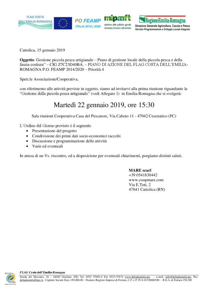Gruppi di lavoro partecipativi: Gestione piccola pesca artigianale - CESENATICO 22 gennaio 2019