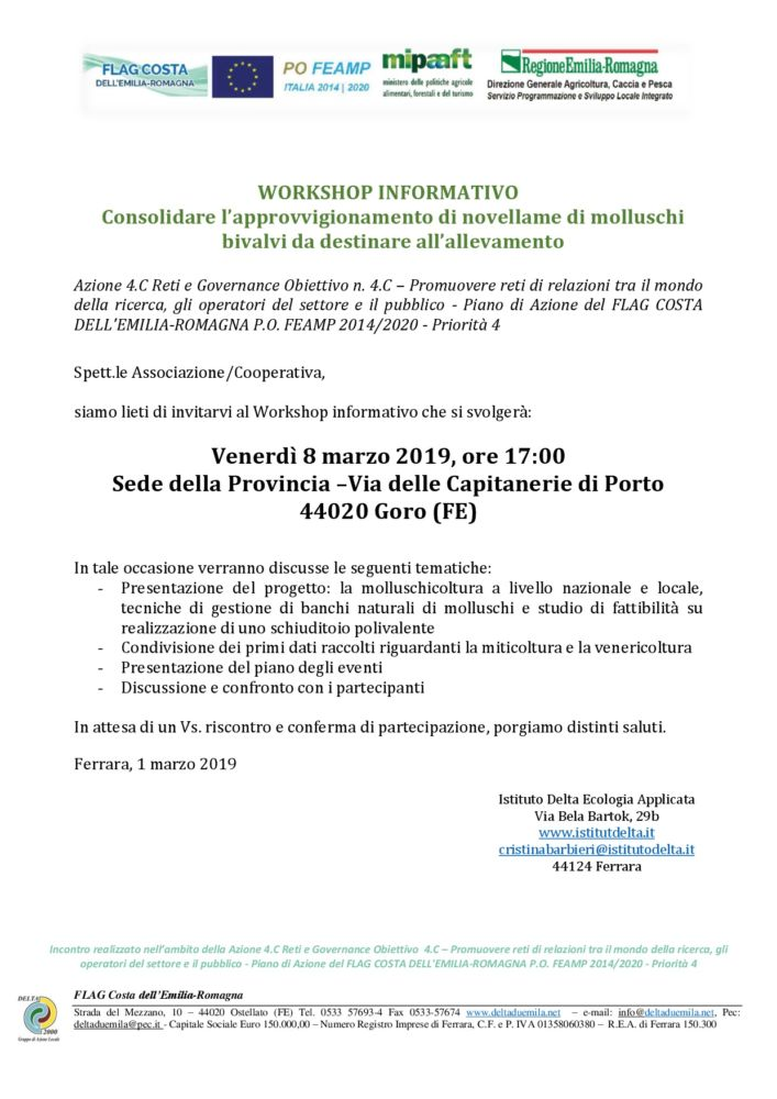 Gruppi di lavoro partecipativi: Approvigionamento novellame di molluschi bivalvi da destinare all'allevamento - Goro 8 marzo 2019