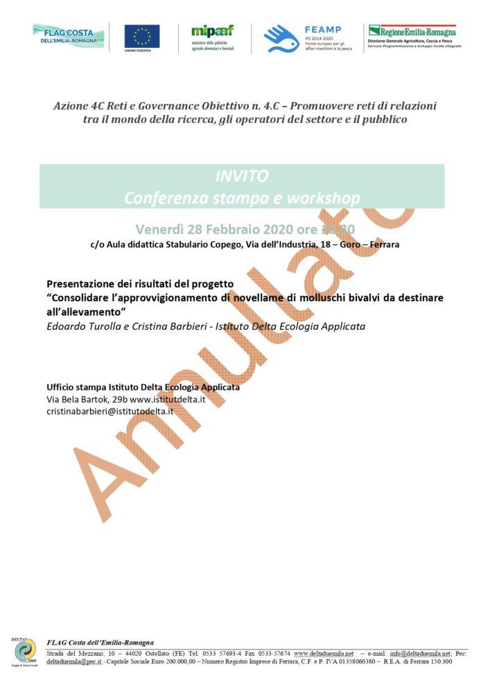 IMPORTANTE: ANNULLATA Conferenza stampa e Workshops 28 febbraio a Goro sul tema della Molluschicoltura