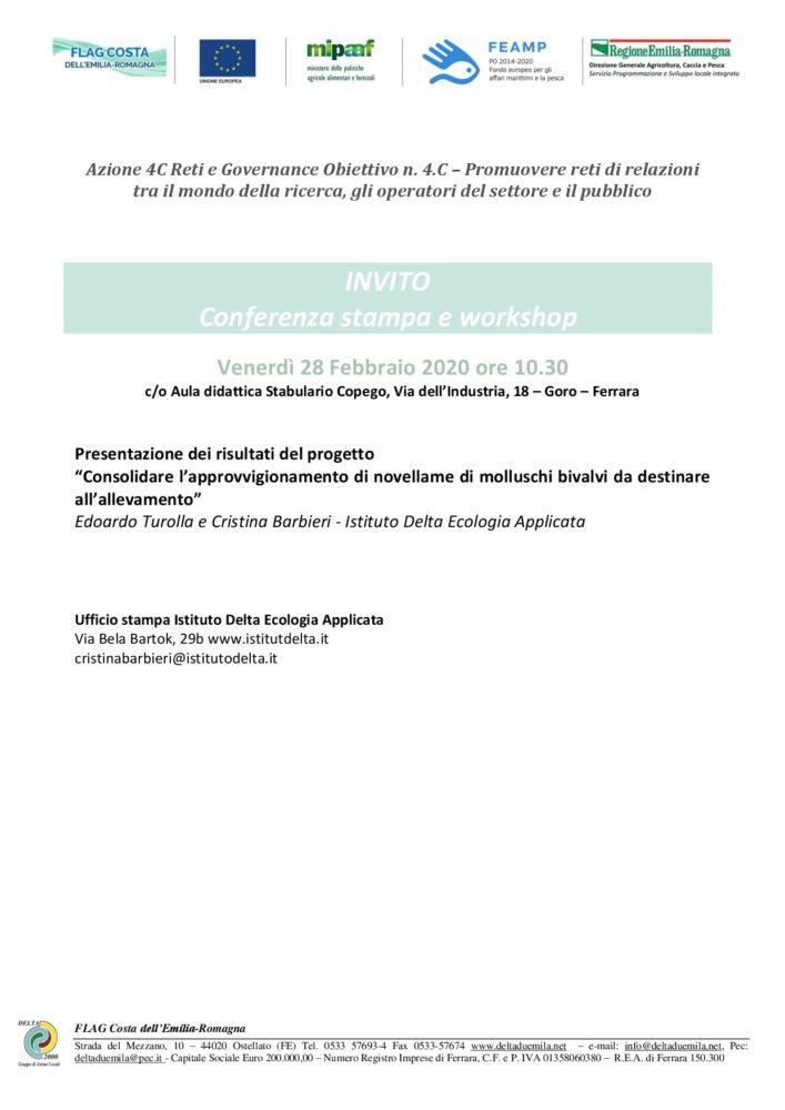 Progetti di reti partecipative: Conferenza stampa e Workshops 28 febbraio a Goro sul tema della Molluschicoltura