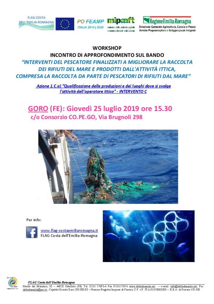"""Workshop approfondimenti Bando Az.1Ca int C """"Interventi del pescatore per la raccolta dei rifiuti del mare"""""""