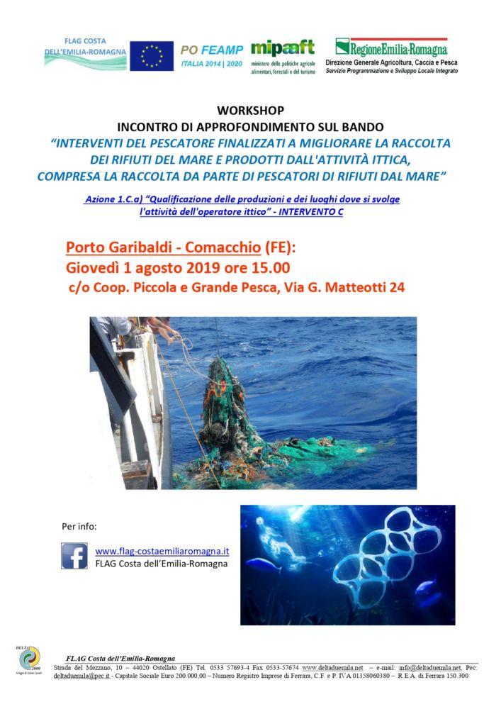 """Workshop PORTO GARIBALDI approfondimenti Bando Az.1Ca int C """"Interventi del pescatore per la raccolta dei rifiuti del mare"""""""